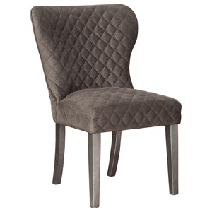Dark Brown Dining Upholstered Side Chair with Diamond Quilting