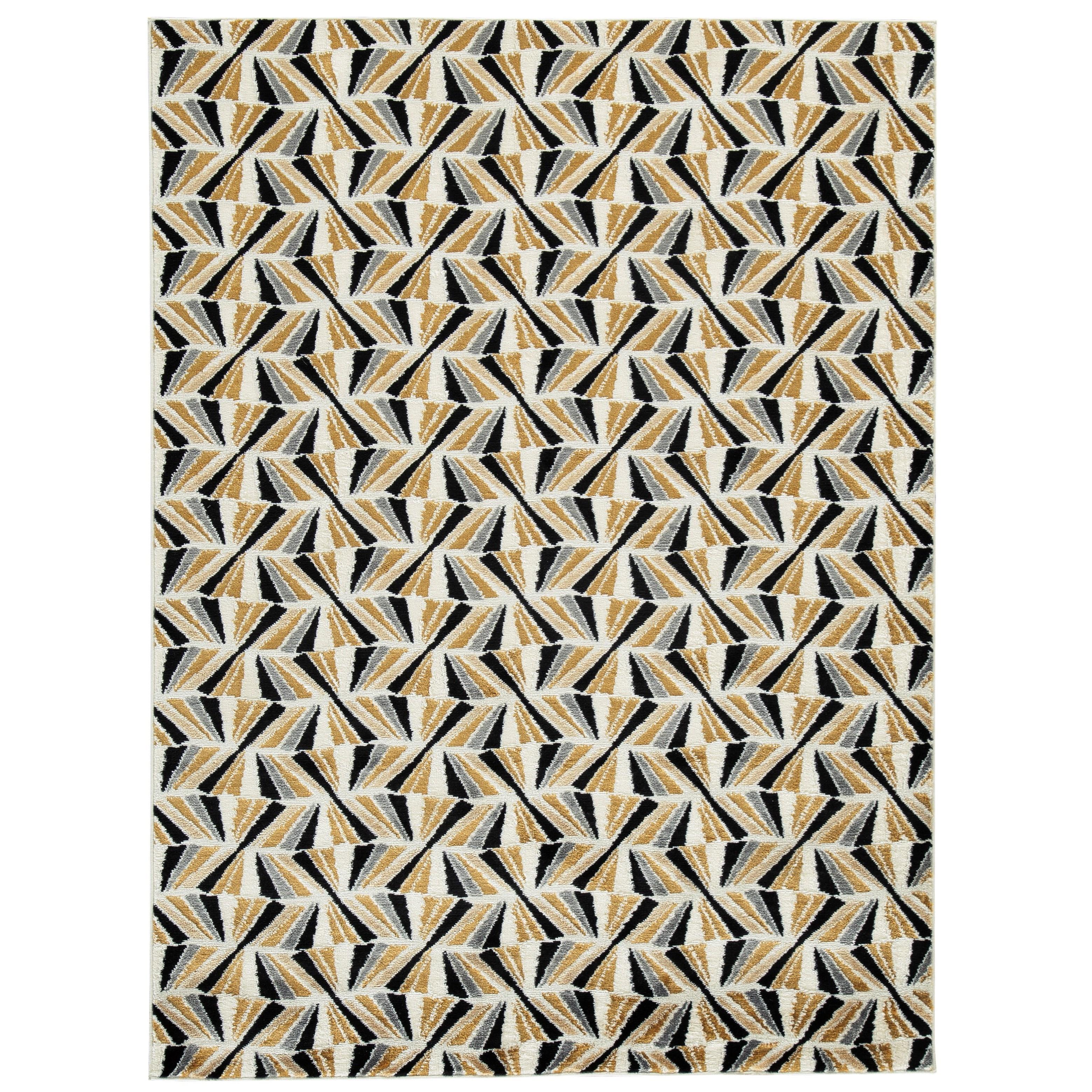 Jaela Black/Gold/White Large Rug