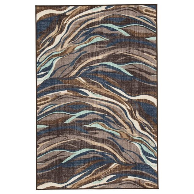Contemporary Area Rugs Jochebed Blue/Brown Medium Rug by Signature Design by Ashley at Westrich Furniture & Appliances