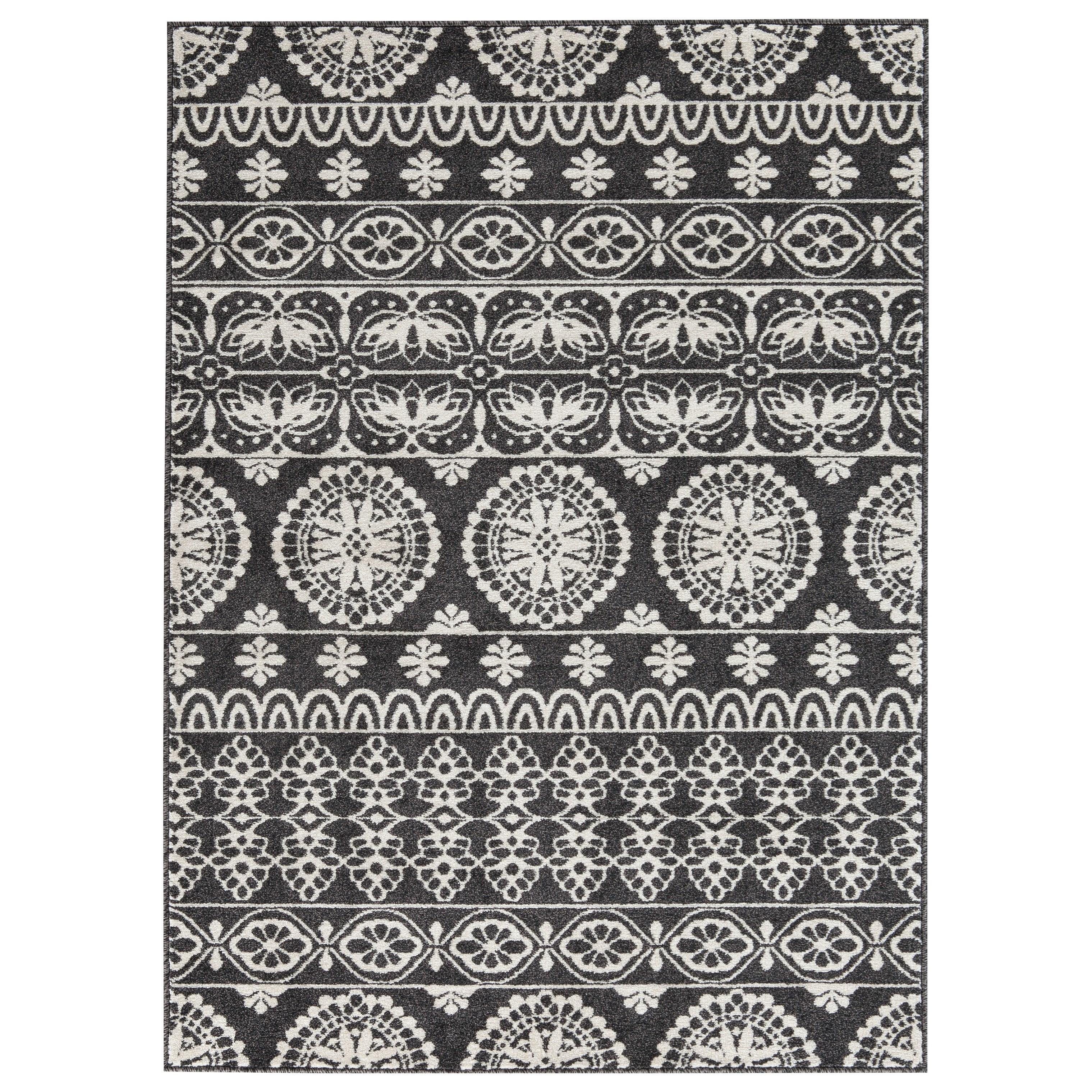 Transitional Area Rugs Jicarilla Black/White Medium Rug by Signature at Walker's Furniture