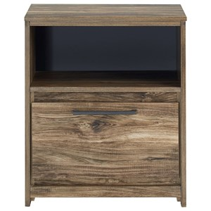 Rustic Modern 1-Drawer Nightstand with USB Charging