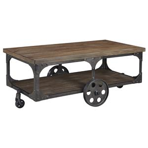 Factory Cart Style Rectangular Cocktail Table