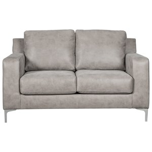 Contemporary Loveseat with Chrome Finish Metal Feet