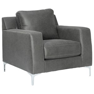 Contemporary Chair with Chrome Finish Metal Feet
