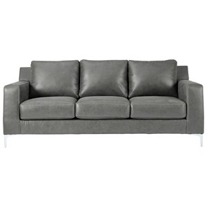 Contemporary Sofa with Chrome Finish Metal Feet