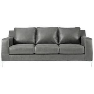 Contemporary Sofa with Chrome Finish Metal Feet