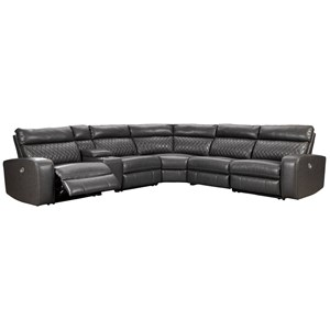 Transitional Power Reclining Sectional Sofa with Storage Console