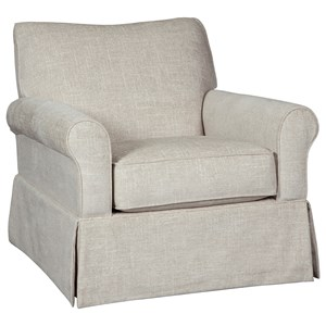 Swivel Glider Accent Chair with Skirted Base