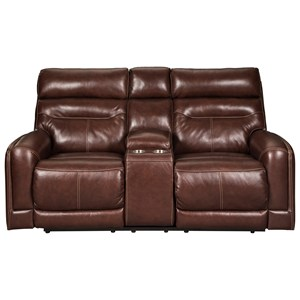 Leather Match Power Reclining Loveseat w/ Console & Adjustable Headrests
