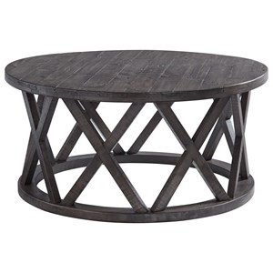 Round Cocktail Table with Distressed Finish