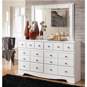 Contemporary 6 Drawer Dresser and Landscape Dresser Mirror Set