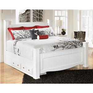 Signature Design by Ashley Weeki King Poster Bed with Underbed Storage