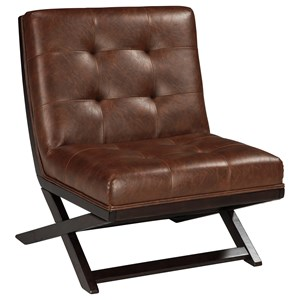 Wood X-Base Armless Accent Chair with Brown Faux Leather