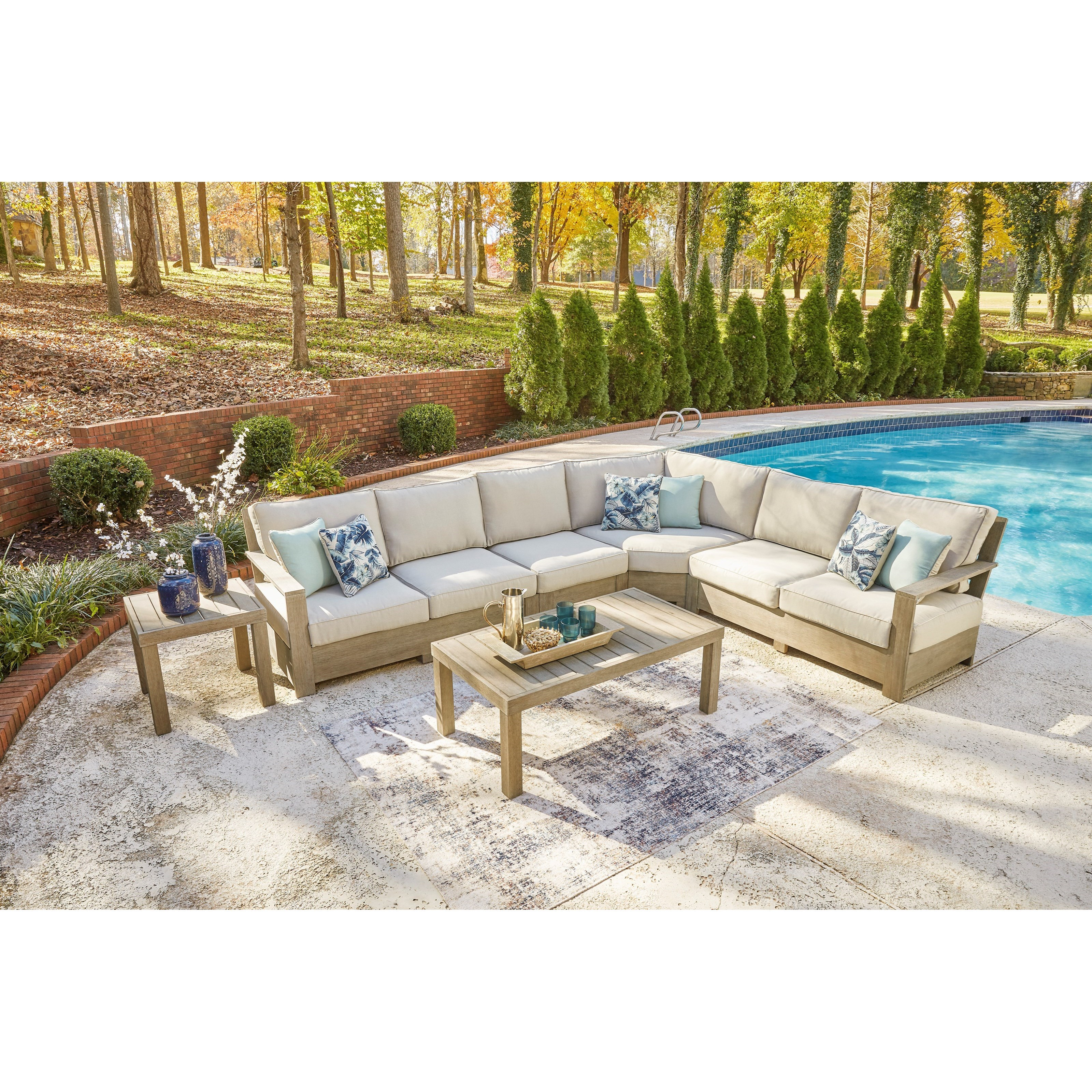 Silo Point Outdoor Sectional Set with Tables by Signature at Walker's Furniture