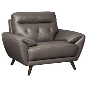 Contemporary Leather Match Chair with Tufted Back