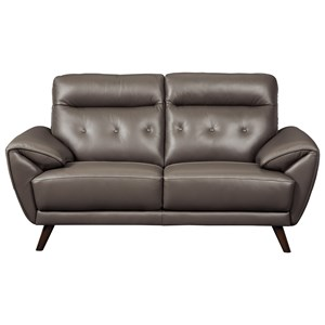 Contemporary Leather Match Loveseat with Tufted Back