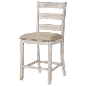 Ladder Back Counter Height Upholstered Barstool