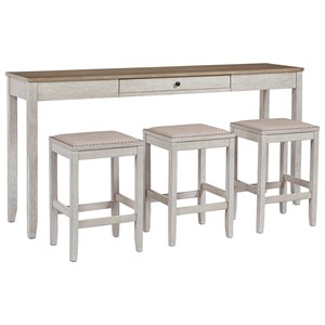 Two-Tone 4-Piece Rect. Dining Room Counter Table Set with Drawer