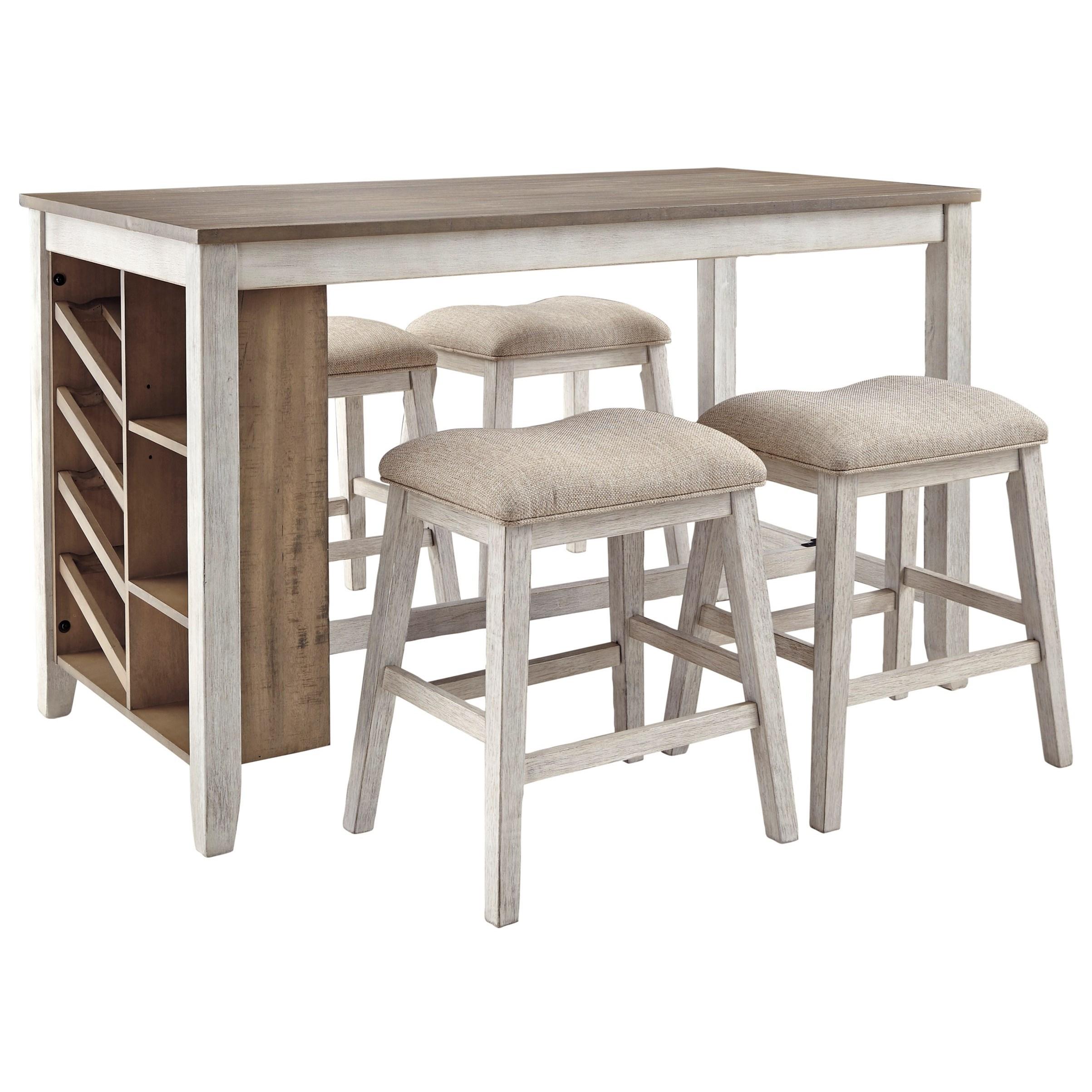 Skempton 5-Piece Rectangular Counter Table Set by Ashley (Signature Design) at Johnny Janosik