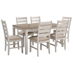 Two-Tone 7-Piece Dining Set with Two-Tone Finish