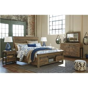 King Panel Storage Bed with Barn Doors, Dresser, Mirror, Nightstand and Chest Package
