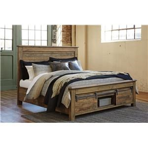 King Panel Bed with Bar Footboard