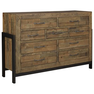 Reclaimed Pine Solid Wood Dresser with Metal Frame