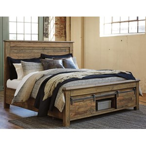 Queen Panel Storage Bed with Barn Doors