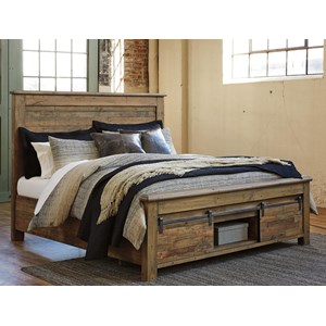 California King Panel Storage Bed with Barn Doors