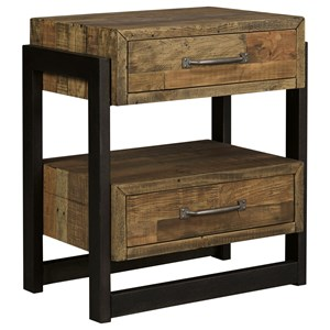 Reclaimed Pine Solid Wood Two Drawer Night Stand