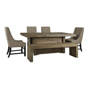 6 Piece Rectangular Dining Room Table, 2 Upholstered Arm Chairs, 2 Upholstered Side Chairs and Large Bench Set