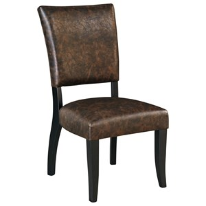 Dining Upholstered Side Chair in Brown Faux Leather