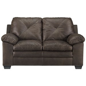 Faux Leather Loveseat with X-Back Stitching