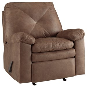 Faux Leather Rocker Recliner with X-Back Stitching
