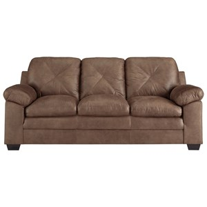 Faux Leather Sofa with X-Back Stitching