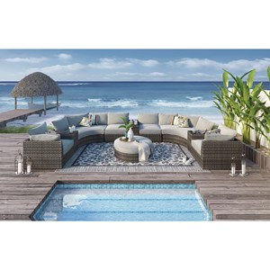Large Outdoor Sectional Sofa Group with Cocktail Ottoman