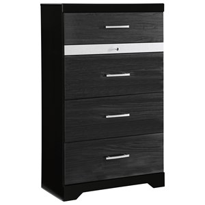 Glam Black Finish Five Drawer Chest with Jewelry Drawer