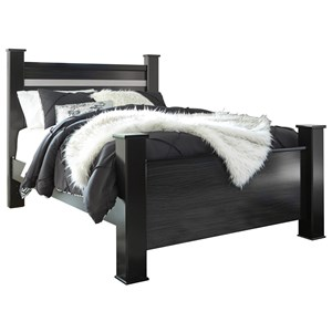 Black Finish Queen Poster Bed with Glitter Accent Panel