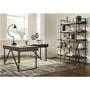 Home Office Small Desk and Desk Return, Office Chair and Bookcase Set