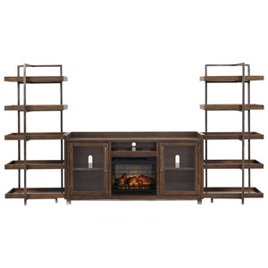 Modern Rustic/Industrial Wall Unit w/ Fireplace