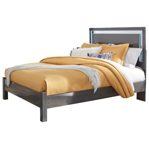Contemporary Queen Panel Bed with LED Lighting