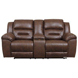 Faux Leather Double Reclining Power Loveseat w/ Console