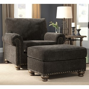 Transitional Chair and Ottoman with Nailhead Trim and Bun Feet