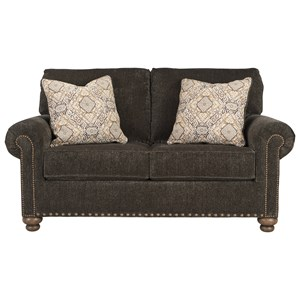Transitional Loveseat with 2 Decorative Pillows