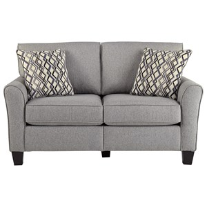 Contemporary Loveseat with Flared Arm