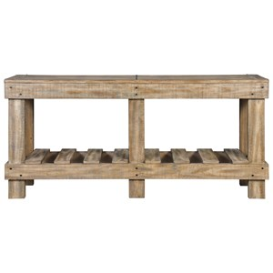Solid Wood Rustic Console Sofa Table with Slat Shelf