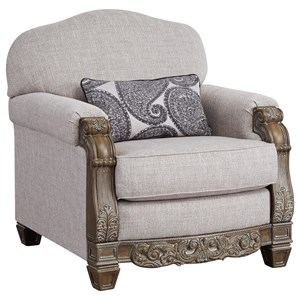 Traditional Upholstered Chair with Wood Accenting