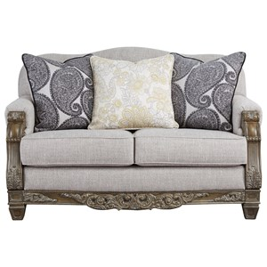 Traditional Loveseat with Wood Accenting