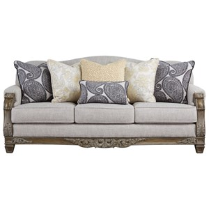 Traditional Sofa with Carved Wood Accenting