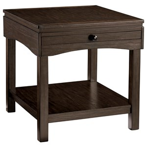 Casual Rectangular End Table with Pullout Tray